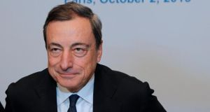 European Central Bank president Mario Draghi said  he expected no disasters to come to light in forthcoming financial health checks on the region's banks, which would be rigorous. Photograph: John Schults/Reuters