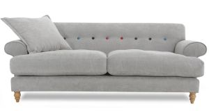 The Orbit sofa, 205cm by 78cm by 96cm, is reduced from €1,299 to €649 at DFS (dfs.ie) stores in Blanchardstown Retail Park (01-6404232) and City Gate, Cork (021-4359306). Available in seven colours; pewter, grey, silver, red, blue, purple and lime, the multi-coloured back buttons are optional and can be ordered in plain. Offer ends October 13th.
