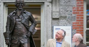 Patrick Guinness and Garech Browne  at the unveiling of  the  statue of entrepreneur and philanthropist Arthur Guinness in his  home town of Celbridge, Co Kildare, which has been erected by Celbridge Tidy Towns, with the support of Diageo.  Photograph: Naoise Culhane Photography