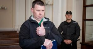 Michael Campbell before yesterday's appeal in Vilnius, Lithuania. Photograph:  AP Photo