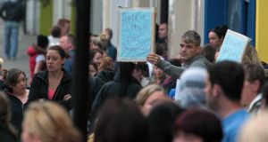 Public support: a rally outside Athlone Courthouse this week. Photograph: Niall Carson/PA Wire