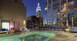 Enjoy a sky-high cocktail beside the pool at the Gansevoort Park Avenue in New York as part of the Mr + Mrs G romantic package