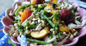Poached chicken, green bean and peach salad