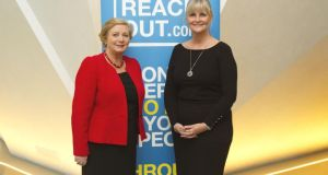 Minister for Children and Youth Affairs Frances Fitzgerald with Elaine Geraghty of Reachout.com at the Technology for Wellbeing conference. Photograph: Maria O'Donoghue
