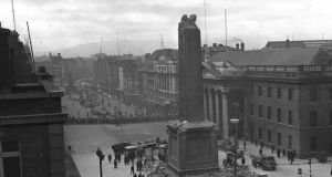 Nelson's Pillar: the blown-up statue on O'Connell Street in Dublin, on  March 9th, 1966, before the Army detonated a controlled explosion to demolish what remained