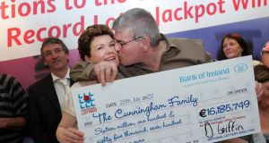 Paul and Helen Cunningham, from Fairhill, Cork City, who collected the cheque for a Record Lotto Jackpot Prize of over €16 million, at the National Lottery Offices, in Dublin, in 2007. Photograph: Eric Luke/The Irish Times