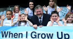 Minister for Health James Reilly takes part in a photocall to launch Tobacco Free Ireland, at Croke Park, Dublin, yesterday. Photograph: Niall Carson/PA Wire
