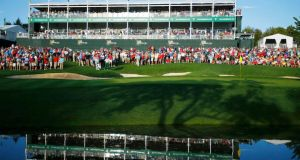 Late afternoon sunlight falls onto the 14th green during the opening fourball matches in   the 2013 Presidents Cup at Muirfield Village Golf Club. Photograph:Jeff Haynes/Reuters