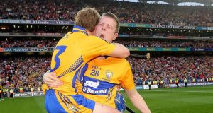 Greatest hurling final ever?: Pádraic Collins and Aaron Cunningham celebrate Clare's win in last weekend's replay. Photograph: James Crombie/Inpho