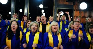 Joe Brady with the Lucan Gospel Singers. Photograph: Aidan Crawley