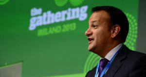 Minister for Tourism Leo Varadkar speaking about the success of the Gathering at the Global Irish Economic Forum in Dublin Castle yesterday. Photograph: Frank Miller