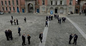 Delegates mix in the yard at  Dublin Castle during a break at the Global Irish Economic Forum yesterday. Photograph: Frank Miller