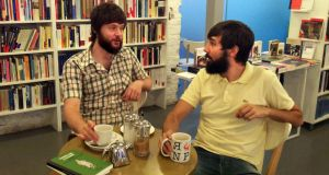 Alfonso Tordesillas and Gonzalo Queipo in their bookshop Tipos Infames in Madrid