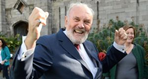 Senator David Norris celebrates at the Central Count Centre in Dublin Castle after the referendum to abolish the Seanad was defeated.  Photograph: Dara Mac Dónaill/The Irish Times