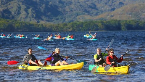 Athletes competing in the Kayaking section on Muckross Lakes in The Helly Hensen Killarney Adventure Race. Photo : Valerie O'Sullivan