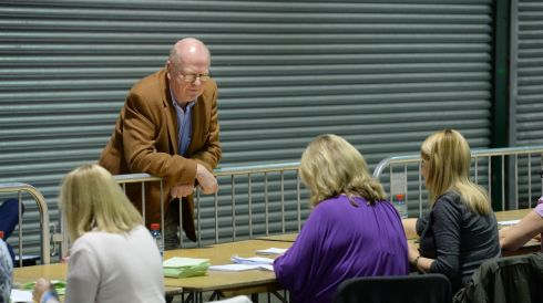 Michael McDowell, SC watching counting of votes for two referendums at the Dublin city count centre in the RDS Dublin. Photos: Dara Mac Donaill / THE IRISH TIMES