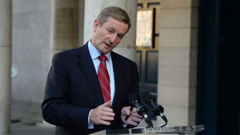 An Taoiseach Enda Kenny TD during  press conference as Government react to losing  referendum on the abolition of the Seanad, at the Central  Count Centre, in the Coach House, Dublin Castle, Dublin. Photos: Dara Mac Donaill / THE IRISH TIMES