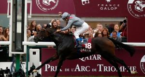 France's Thierry Jarnet on Treve crosses the  line to win the Qatar Prix de l'Arc de Triomphe at the Longchamp racetrack near Paris. Photograph:  Benoit Tessier/Reuters