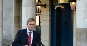 An Taoiseach Enda Kenny  during a press conference as Government react to losing referendum on the abolition of the Seanad, at the Central Count Centre, in the Coach House, Dublin Castle, Dublin. Photographer: Dara Mac Dónaill