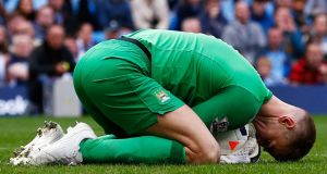 Joe Hart: at fault for Everton's goal