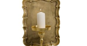 THREE OF THE BEST . . . LIGHTING UP TIME Create accent areas on hall walls or in nooks and alcoves in living rooms with these dramatic baroque-style candle sconces. Made of distressed gold gilt-covered aluminum, a pillar candle is all you need to add interesting shadowplay to your setting. The sconce,35cm by 46cm, costs £145 (€173) and can be bought online from the French bedroom Company (00-44-84564-48022, frenchbedroomcompany.co.uk).