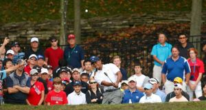 Tiger Woods  on the 15th  during his singles match against Richard Sterne of South Africa.