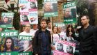 Musician Damon Albarn  and actor Jude Law  join other demonstrators to protest against the detention in Russia of Greenpeace activists, outside the Russian Embassy in London on October 5th. Photograph: Olivia Harris/Reuters