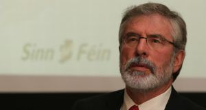 Sinn Fein Leader Gerry Adams speaks to the media at the launch of the Sinn Fein Budget for 2014 at the Royal College of Physicians, Dublin today. Photograph: Niall Carson/PA