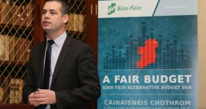 Sinn Féin TD Pearse Doherty speaks to the media at the launch of the party's 'alternative budget'. Photograph: Niall Carson/PA Wire