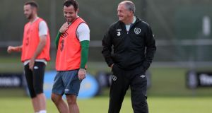 Republic of Ireland interim manager Noel King shares a laugh with midfielder Andy Reid during training at Gannon park in Malahide on Tuesday. Photograph: Donall Farmer/Inpho