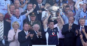 Dublin captain Stephen Cluxton lifts the Sam Maguire Cup after the victory over Mayo in last month's All-Ireland senior football final. Photograph:  Donall Farmer/Inpho