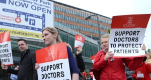Picket lines outside the Mater hospital in Dublin, yesterday. Photograph: Cyril Byrne
