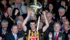 Colin Fennelly lifts the league trophy following Kilkenny's league final win over Tipperary at Nowlan Park in May. Photo: Ryan Byrne/Inpho