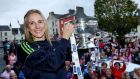 Galway senior camogie player Therese Maher holds the O'Duffy Cup. Photograph: James Crombie/Inpho