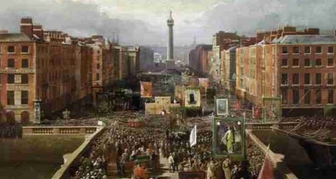 The O'Connell Centenary Celebrations (1875) An oil on canvas painting by Irish artist Charles Russell (1852 - 1910) of celebrations marking the centenary of Daniel O'Connell's birth. It features a fine view of the old narrow Carlisle Bridge not long before it was widened and renamed in honour of The Liberator. © National Gallery of Ireland