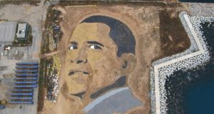Jorge Rodriguez-Gerada's huge land portrait of Obama: 'By using sand, I was deliberately making the image impermanent – a premonition, I suppose, that all that hope and euphoria would disappear'