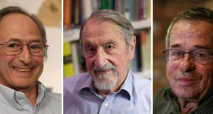 Michael Levitt, Martin Karplus and Arieh Warshel, the three laureates of the 2013 Nobel Prize for Chemistry.