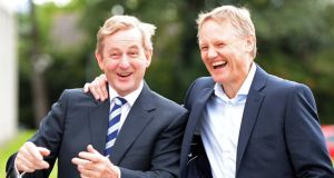 "Taoiseach Enda Kenny joking with Irish head coach Joe Schmidt at the IMI National Management Conference ""Game Changers for Growth"" at Sandyford , Co Dublin, yesterday. Photograph: Eric Luke."