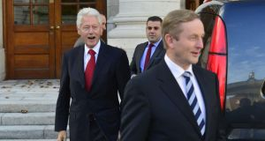 Taoiseach Enda Kenny and former US president Bill Clinton meeting at Government Buildings. Photograph: Alan Betson/ THE IRISH TIMES