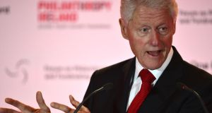 Former US president Bill Clinton speaking at the Conrad Hotel in Dublin last night.  Photograph: Alan Betson/The Irish  Times