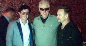 (From left) Irish golfer Rory McIlroy, former US president Bill Clinton and  Bono  at Fire   restaurant in last night. Photograph: Alan Andrews @coffeeculture