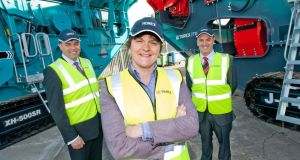 Northern Ireland enterprise minister Arlene Foster, pictured with  chief executive of Invest NI Alastair Hamilton  and president of Terex Materials Processing Kieran Hegarty, said the announcement was a 'boost for Northern Ireland's vibrant materials-handling sector'.