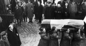 Eamon de Valera attends the funeral of Roger Casement in 1965. Photograph: Getty Images