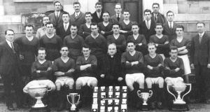 The Kerry All-Ireland winning team of 1929, with all the cups Kerry won that year. From Forging a Kingdom – The GAA in Kerry 1884-1934, by Richard McElligott, published by The Collins Press