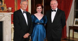 First Minister Peter Robinson  and Deputy First Minister Martin McGuinness, pictured at the Gala Dinner at Hillsborough Castle last nigth with entrepreneur Orlagh McGahan.