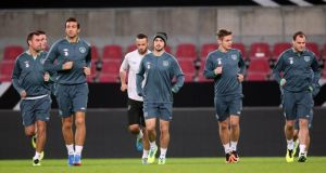 Republic of Ireland players during last night's training session at the Rhein Energie Stadium. Photograph: Donall Farmer/Inpho