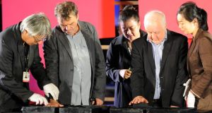 Hand-printing: Neil Jordan and Jim Sheridan at a festival event. Photograph: Ted Aljibe/AFP/Getty