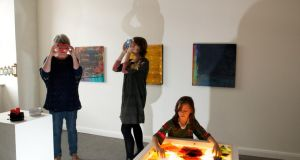 Paint: Exploring Lucy Hill's interactive art exhibition at Linenhall Arts Centre, in Castlebar. Photograph: Alison Laredo