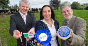 From left: Alan O'Riordan, Tyndall Institute; Riona Sayers, Teagasc and Kieran Drain, Tyndall Institute CEO, at the launch of AgriSense in Cork. photograph: daragh mcsweeney/provision