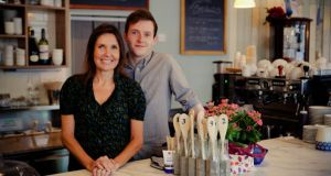 Caroline Gray and her son Robert at their new business, Cafe Gray, in Greystones, Co Wicklow